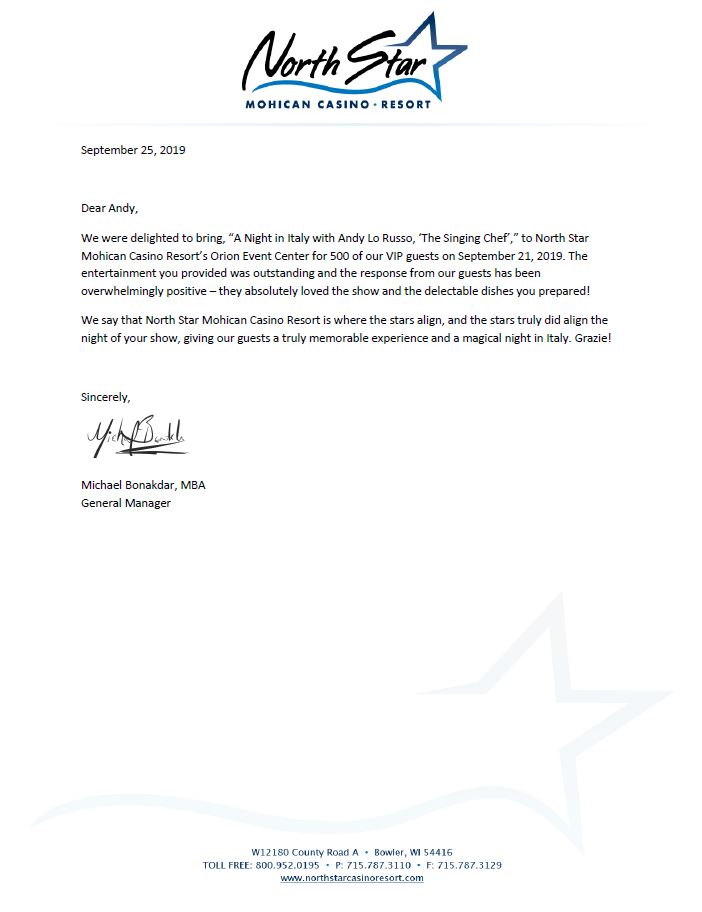 North Star Casino Thank You Letter