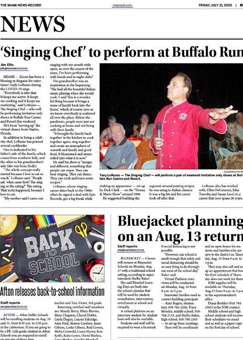 Singing Chef to perform at Buffalo Run