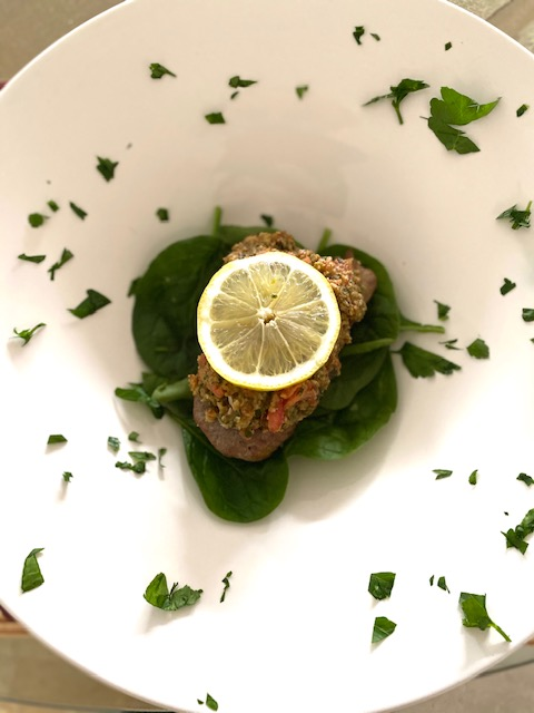 Grilled Baby Tuna Steaks With Toasted Almond Basil Pesto Topping