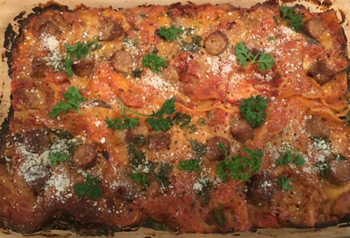 Spinach Mushroom Lasagna With Italian Chicken Sausage and Black Olives<br>Yields Two 9 x 15