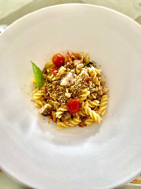Pasta Alla Siciliana Con Pesce Spada E Melanzana - Past With Swordfish Eggplant