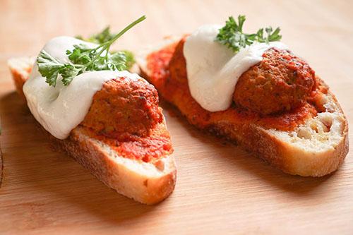 Turkey Meatball Open Faced Sandwiches With Buffalo Mozzarella and Tomato Basil Sauce